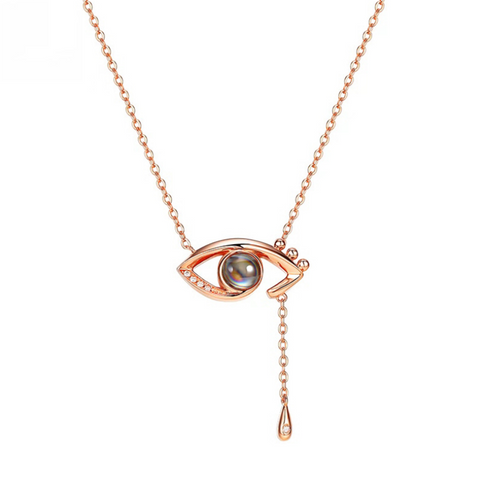 Women's romantic projection s925 silver eye pendant necklace