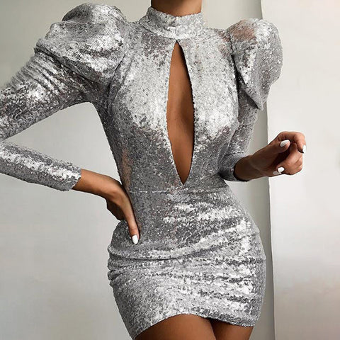 Fashion Sexy Puff Sleeve Hollow Sequin Mini Dress