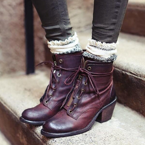 Retro ladies lacing round-toed chunky heels ankle boots