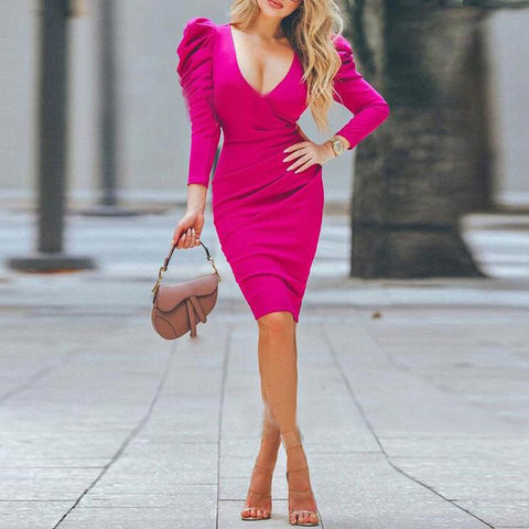 Fashion Pure Color Bubble Sleeve Dress