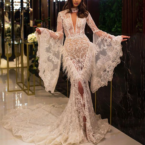Elegant sexy lace fringed flared sleeves evening dress