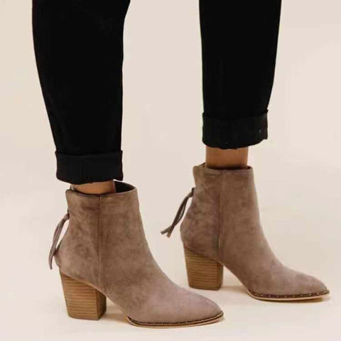 Vintage fringed pointed suede Martin boots