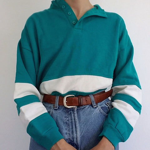 Old Fashion Half-open Buckle Colorblock Striped Sweatershirt