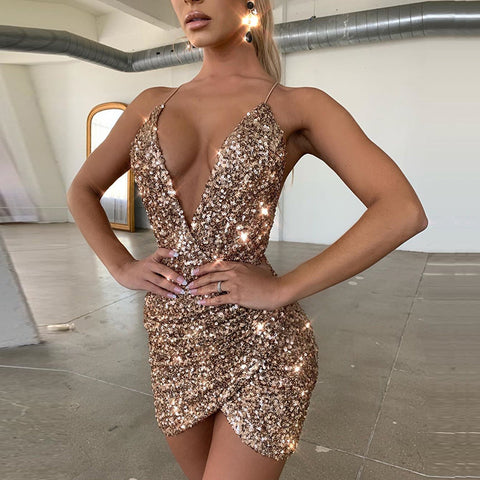 Women's sexy v-neck open back sequin dress
