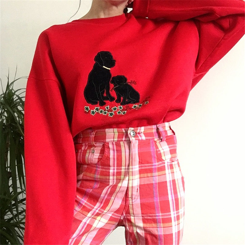 Casual Loose Round Neck Cartoon Sweatshirt