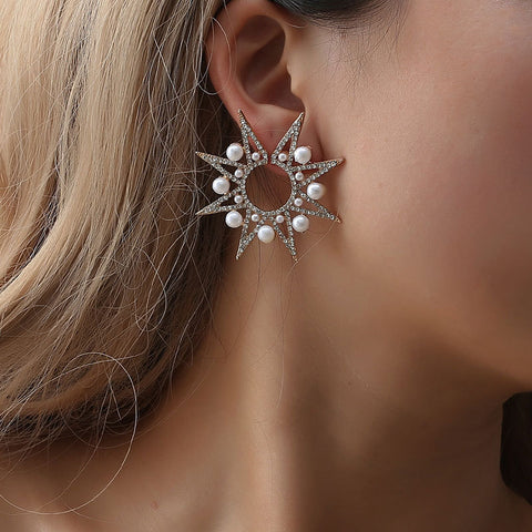 Geometric exaggerated pearl star sun flower earrings