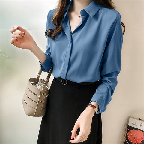 Casual Loose Pure   Color Long Sleeve Shirt
