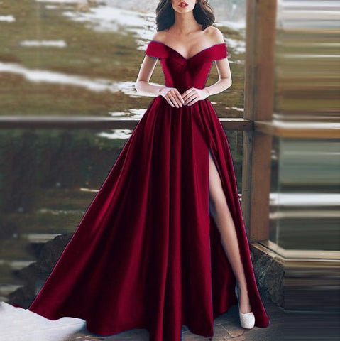 Sexy Off-Shoulder V-Neck Evening Dress