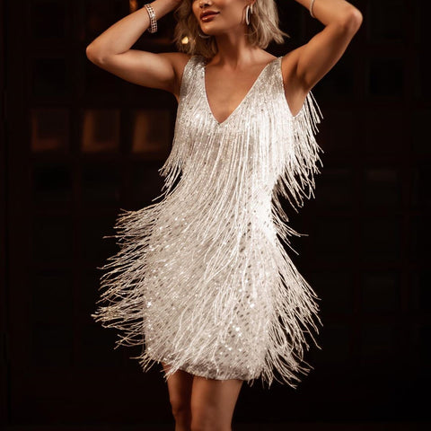 Fashion fringe deep v sling short dress