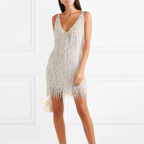 Gatsby embellished chiffon V-neck Fringed Sling Backless Sexy Dress
