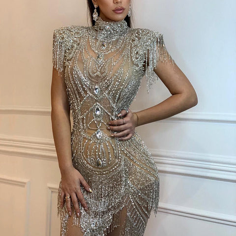 Noble rhinestone fringe short sleeves slim short evening dress
