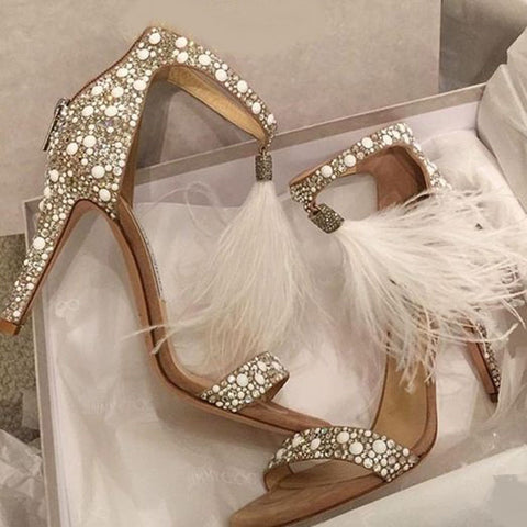 Women's Fashion Sequin Pearl Feather Heels