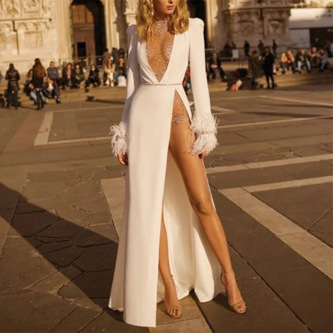 Sexy Deep V Neck Long Sleeve Slit Dress