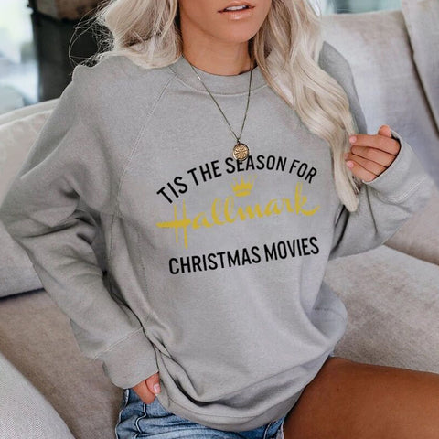 Christmas Bottoming Printed Round Neck Long Sleeve Sweatshirt