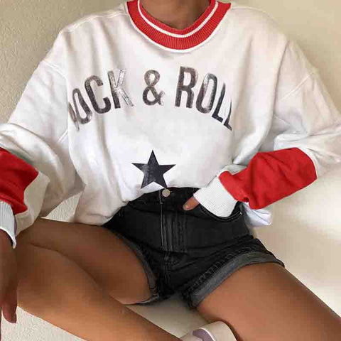 Womens Causal Round Neck Letters Printed Colour Sweatshirt