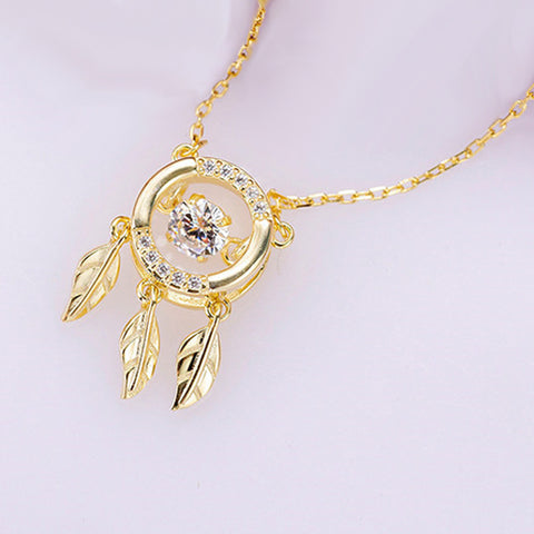 Brief Women Literary Leaf Diamond Necklace