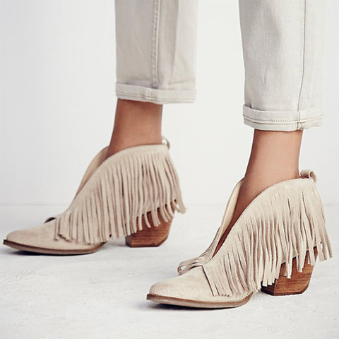 Women's simple solid color tassel Martin ankle boots