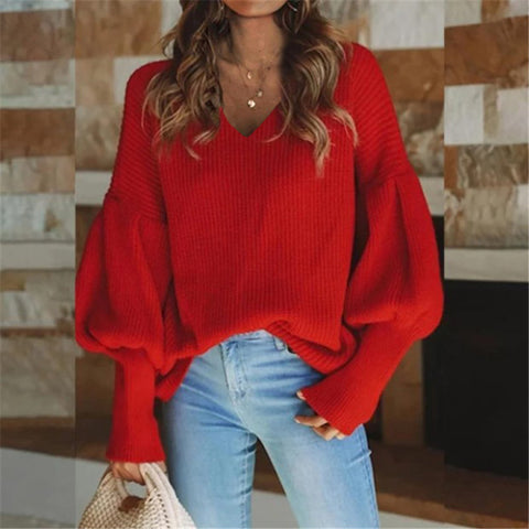 Casual Loose V-neck Lantern Sleeve Sweater