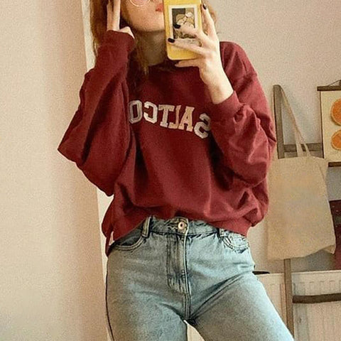 Fashion round neck letter print loose sweatershirt