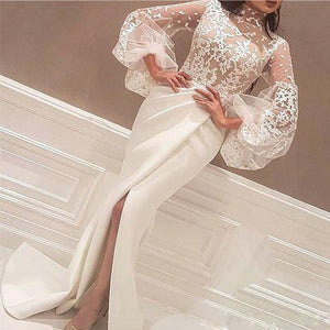 Elegant Bishop Sleeve See-through Slit Bodycon Dress