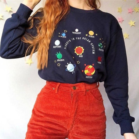 Planet Printed Round Neck Long Sleeve T-shirt