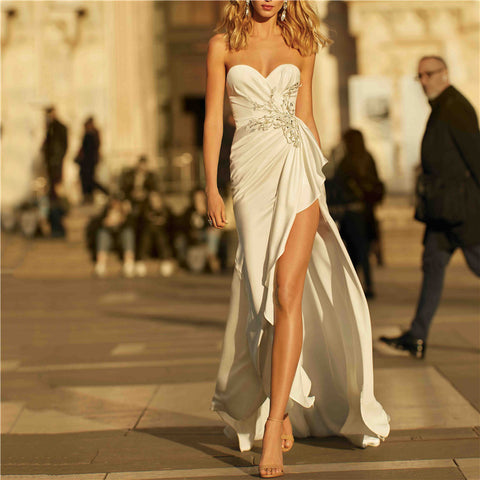 Women's sexy tube top sleeveless slit dress