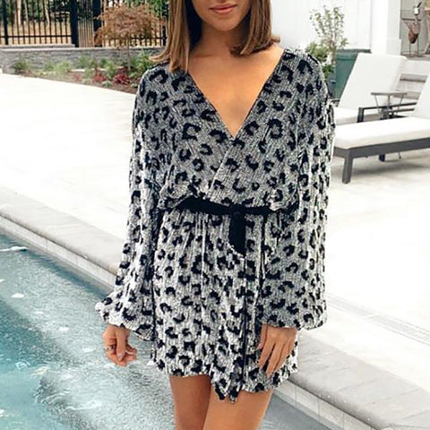 Womens Fashion V Neck Leopard Printed Loose Dress