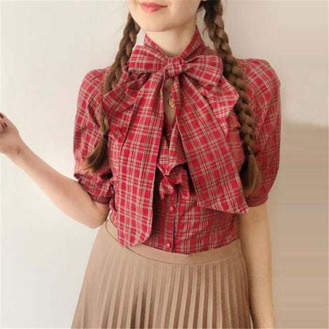 Vintage Plaid Bowknot Half Sleeve Blouse