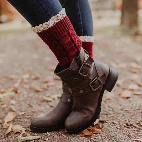 Women's fashion stitching belt buckle low heel boots