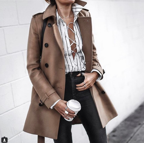 Fashion Turndown Collar Pure Color Long Sleeve Coat