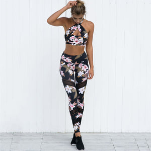 Floral Set - Leggings, Sportswear, Sweatpants, Yoga Pants, Fitness, Sport bra, Yoga