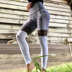 White Leopard Mesh Leggings - Leggings, Sportswear, Sweatpants, Yoga Pants, Fitness, Sport bra, Yoga