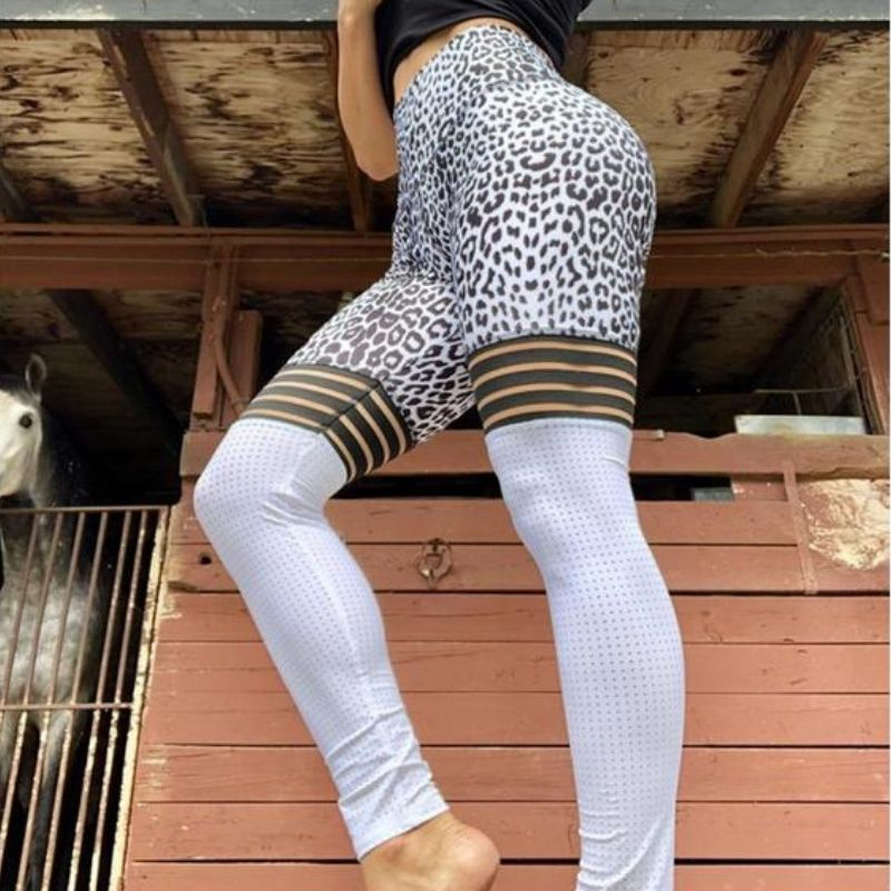 White Leopard Mesh Leggings - Fit Spirit