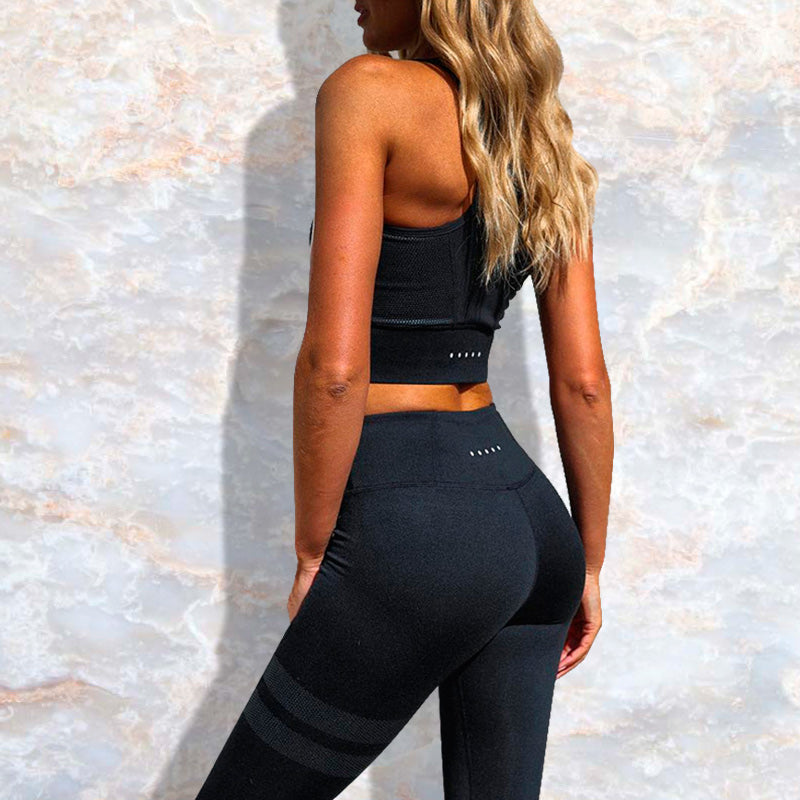 Casual Striped Set - Leggings, Sportswear, Sweatpants, Yoga Pants, Fitness, Sport bra, Yoga