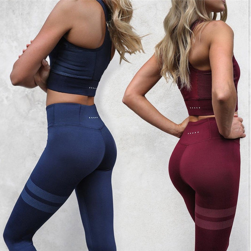 2 Colors Striped Set - Leggings, Sportswear, Sweatpants, Yoga Pants, Fitness, Sport bra, Yoga
