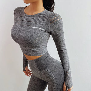 Mesh Seamless Gym Top - Leggings, Sportswear, Sweatpants, Yoga Pants, Fitness, Sport bra, Yoga