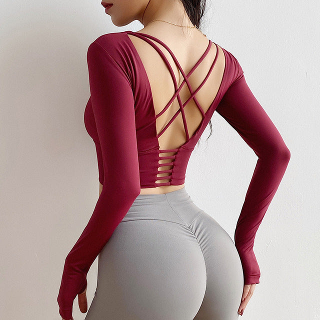 Long Cross Yoga Top - Leggings, Sportswear, Sweatpants, Yoga Pants, Fitness, Sport bra, Yoga