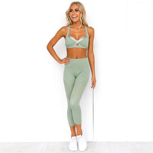 Green Active Mesh Set - Leggings, Sportswear, Sweatpants, Yoga Pants, Fitness, Sport bra, Yoga