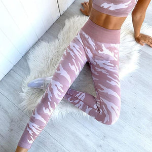 Camouflage Crop Top Set - Leggings, Sportswear, Sweatpants, Yoga Pants, Fitness, Sport bra, Yoga