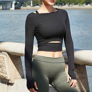 Workout Thumb Hole Top - Leggings, Sportswear, Sweatpants, Yoga Pants, Fitness, Sport bra, Yoga