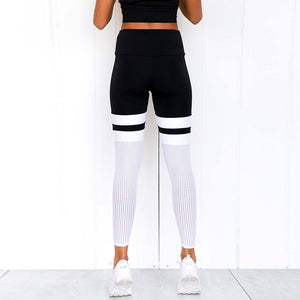 Mesh Stripe Leggings - Leggings, Sportswear, Sweatpants, Yoga Pants, Fitness, Sport bra, Yoga