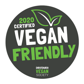 2020 Certified Vegan Friendly by the Christchurch Vegan Society