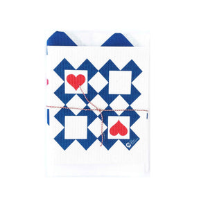 Designer tea towel and matching compostable cotton dish cloth in Ace of Hearts design.
