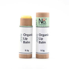 Organic lip balm in compostable cardboard tube.