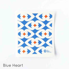 Dish cloth with blue hearts design.