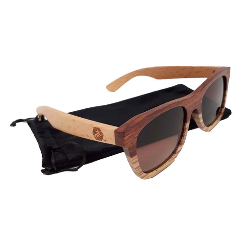 Bamboo sunglasses and slip case.