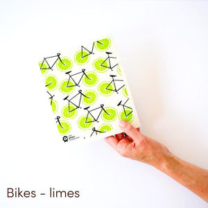 Dish cloth with bicycle lime wheels design.