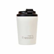 Reusable white / snow stainless steel coffee cup and lid.