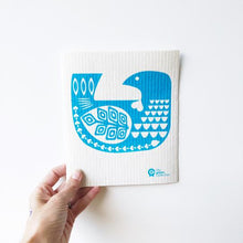 Dish cloth with bird design.
