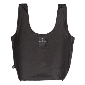 Photograph of reusable black grocery bag made from recycled plastic bottles
